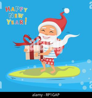 Santa Claus with big gift box and ribbon with a bow in hand riding a surfboard - Stock Photo