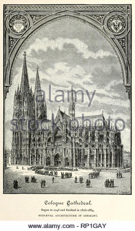 Cologne Cathedral, Germany, engraving from 1800s - Stock Photo
