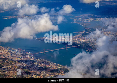 View from plane window on Lisbon city, Portugal - Stock Photo