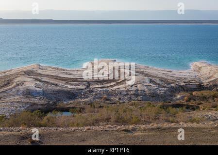 Dead Sea shore seen from a Highway 65 in Jordan - Stock Photo