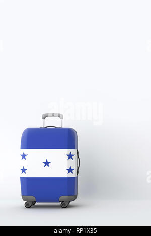 Travel suitcase with the flag of Honduras. Holiday destination. 3D Render - Stock Photo