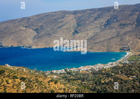12.09.2018, Andros, Cyclades, Greece - Coastal landscape with the fishing village of Ormos Korthiou. 00X180912D032CAROEX.JPG [MODEL RELEASE: NOT APPLI - Stock Photo
