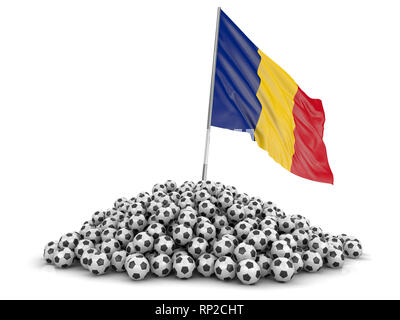 Pile of Soccer footballs and flag. Image with clipping path - Stock Photo