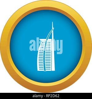 Hotel Burj Al Arab in United Arab Emirates icon blue vector isolated - Stock Photo