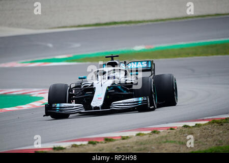 20th February 2019, Circuit de Barcelona-Catalunya, Barcelona, Spain; Formula One Testing Day 3; Valtteri Bottas of the Mercedes Team  during the winter test at the circuit of Catalunya - Stock Photo