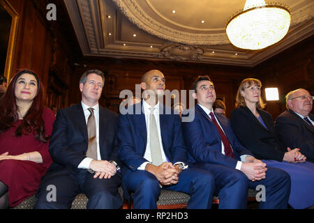 Westminster, London, UK. 20th Feb, 2019. Former Conservative MPs Anna Soubry, Sarah Wollaston and Heidi Allen hold news conference after leaving the party for Independent Group in Westminster. Credit: Dinendra Haria/Alamy Live News - Stock Photo