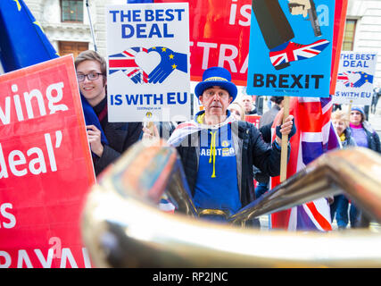 London, UK. 20th Feb, 2019. Remain Supporters outside the building where the press conference is taking place after three Conservatives resign from the Party. Credit: Tommy London/Alamy Live News - Stock Photo