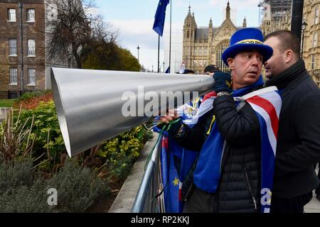 London, UK. 20th Feb, 2019. Steve Bray,Activist,SODEM Demonstration,College Green,Houses of Parliament,Westminster,London.UK Credit: michael melia/Alamy Live News - Stock Photo
