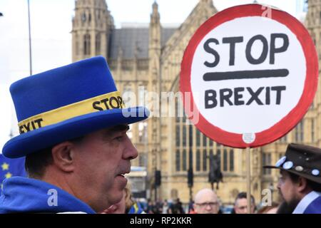 London, UK. 20th Feb, 2019. Steve Bray,Activist,SODEM Demonstration,Houses of Parliament,Westminster,London.UK Credit: michael melia/Alamy Live News - Stock Photo