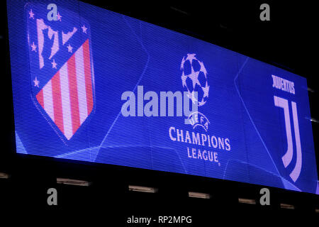 Madrid, Spain. 20th Feb, 2019. Wanda Metropolitano Stadium before the start of football match of first legs of round of 16 of UEFA Champions League between Atletico de Madrid and Juventus FC at Wanda Metropolitano Stadium on February 20, 2019 in Madrid, Spain. Credit: David Gato/Alamy Live News - Stock Photo