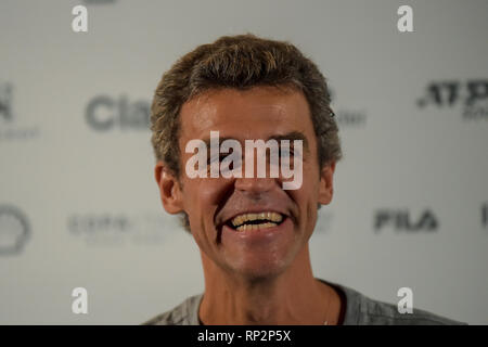 Rio de Janeiro, Brazil. 20th Feb, 2019. Open Rio 2019 - Brazilian Gustavo Kuerten, three-time champion of Roland Garros, during a press conference at Rio Open 2019, ATP 500 stage of the world tennis circuit, held at the Jockey Club Brasileiro, place where the competitions take place between 16 and 24 February. Photo: Thiago Ribeiro / AGIF Credit: AGIF/Alamy Live News - Stock Photo