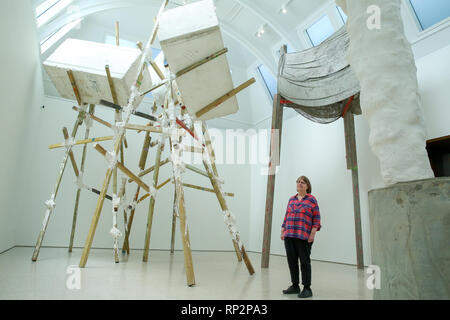 London, UK. 20th Feb, 2019. Phyllida Barlow is seen viewing her installation at at Royal Academy of Arts in London.British artist Phyllida Barlow transforms the Royal Academy's Gabrielle Jungels-Winkler Galleries with an exhibition of entirely new work, entitled cul-de-sac. The exhibition has been conceived as a sequential installation running across all three of the interconnected spaces. The exhibition is open to the public from 23 February until 23 June 2019. Credit: Dinendra Haria/SOPA Images/ZUMA Wire/Alamy Live News - Stock Photo