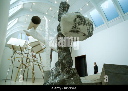 London, UK. 20th Feb, 2019. A woman is seen viewing Phyllida Barlow's installation at the Royal Academy of Arts in London.British artist Phyllida Barlow transforms the Royal Academy's Gabrielle Jungels-Winkler Galleries with an exhibition of entirely new work, entitled cul-de-sac. The exhibition has been conceived as a sequential installation running across all three of the interconnected spaces. The exhibition is open to the public from 23 February until 23 June 2019. Credit: Dinendra Haria/SOPA Images/ZUMA Wire/Alamy Live News - Stock Photo
