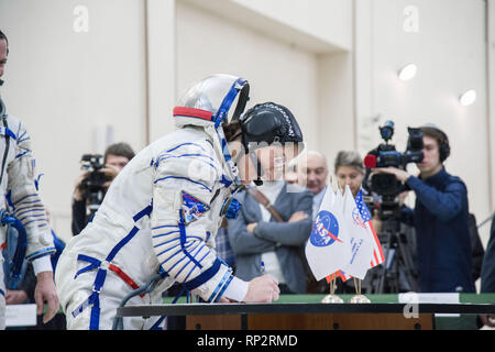 Star City, Russia. 20th Feb, 2019. International Space Station Expedition 59 crew member Christina Koch of NASA signs in for the final pre-launch qualification exams February 20, 2019 at Star City, Russia. The crew of Christina Koch, Alexey Ovchinin and Nick Hague will launch March 14th from the Baikonur Cosmodrome in Kazakhstan on the Soyuz MS-12 spacecraft for a six-and-a-half month mission on the International Space Station. Credit: Planetpix/Alamy Live News - Stock Photo