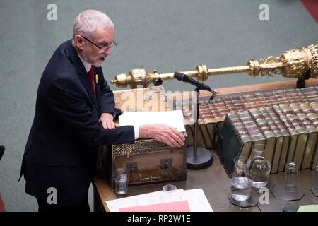 London, Britain. 20th Feb, 2019. British Labour Party leader Jeremy Corbyn attends the Prime Minister's Questions in the House of Commons in London, Britain, on Feb. 20, 2019. Credit: UK Parliament/Jessica Taylor/Xinhua/Alamy Live News - Stock Photo