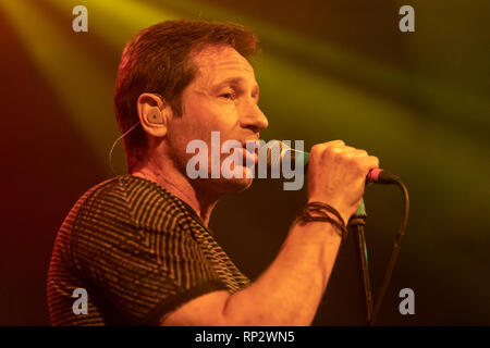 Dublin, Ireland. 20th Feb, 2019. X Files actor David Duchovny (Fox Mulder) sings on stage in Dublin's Academy music  venue. Credit: SOPA Images Limited/Alamy Live News - Stock Photo