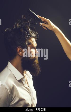 female hand combing bearded man - Stock Photo