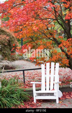 White armchair in beautifule fall - Planten un Blomen, Hamburg - Stock Photo