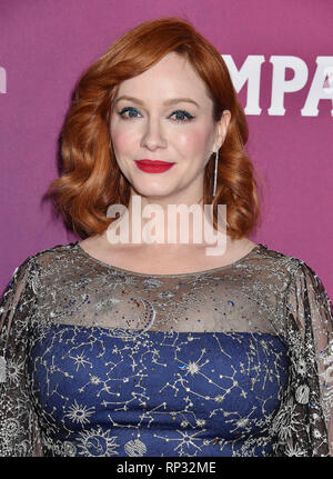 BEVERLY HILLS, CA - FEBRUARY 19: Christina Hendricks arrives at the 21st CDGA (Costume Designers Guild Awards) at The Beverly Hilton Hotel on February - Stock Photo
