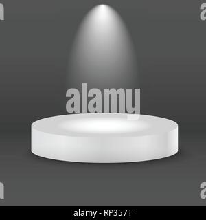 Round white stage podium with light beam. Vector illustration. - Stock Photo