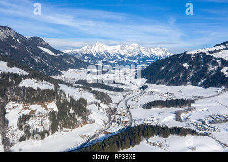 Panoramic view of the winter mountains in Alps Austria. View from above. Landscape photo captured with drone. Europe. - Stock Photo