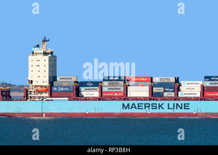 Vuoksi Maersk, ice-class feeder container ship / cargo ship from Maersk Line, Danish international container shipping company - Stock Photo