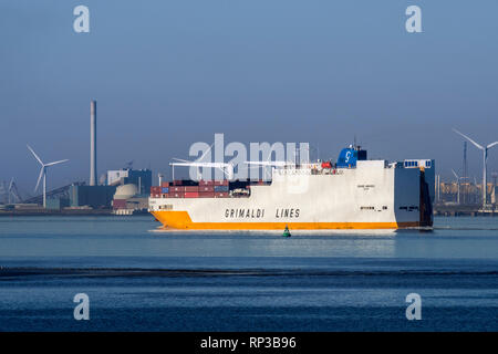 Grande Amburgo, ro-ro cargo ship from Italian company Grimaldi Lines sailing on the Western Scheldt river in front of Vlissingen, Zeeland, Netherlands - Stock Photo