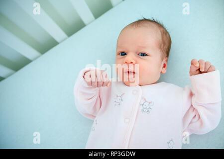 Cute two week old baby girl in cradle - Stock Photo