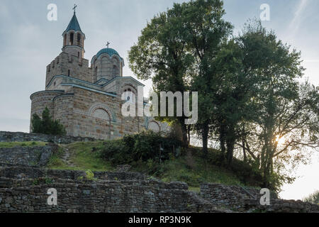 Looking up to Orthodox Church 'Ascension of Christ Patriarchal' located on hilltop inside Tsarevets Fortress, Veliko Tarnovo, Bulgaria. Stock Photo