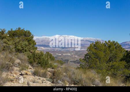 Snow Capped Sierra Maria Los Velez Mountain in Andalucia Spain - Stock Photo