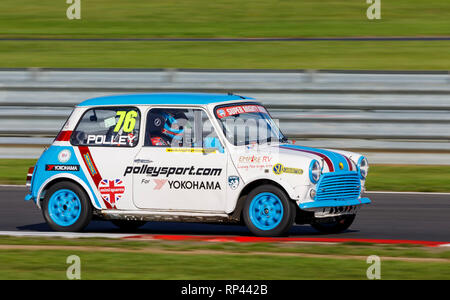 Jo Polley in the Super MIghty Minis Championship race entrant at the Snetterton 2018 meeting, Norfolk, UK. - Stock Photo