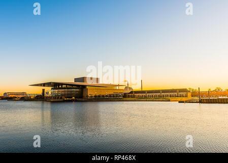 Morning twilight over the Danish Royal Opera House in Copenhagen, February 16, 2019 - Stock Photo