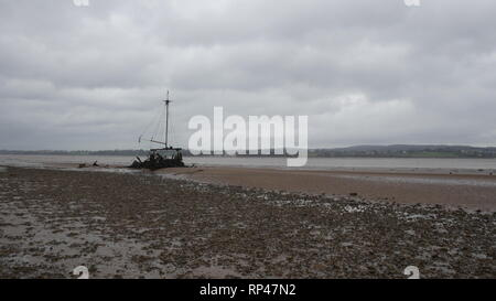 There Exe Estuary, overcast day - Stock Photo
