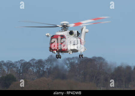 20 February 2019: An HM Coastguard helicopter takes off from Inverness Airport. Picture: Andrew Smith - Stock Photo
