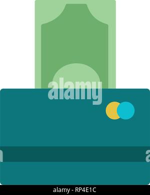 Illustration of One Hundred Euro Banknotes being inserted into currency reader on a credit card. Bank Account Balance Upload Withdrawal concept. Credit cards and stack of banknotes 100 dollars in cash. Electronic money with a security chip for payment in the store. closeup - Stock Photo
