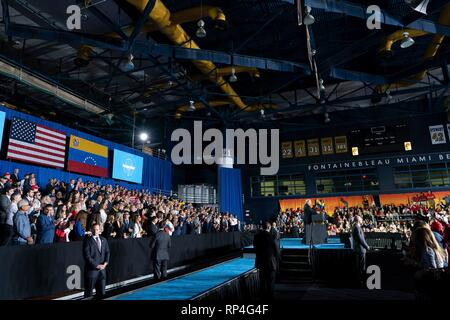 U.S President Donald Trump delivers an address to the Venezuelan American community at the Florida International University Ocean Bank Convocation Center February 18, 2019 in Miami, Florida. - Stock Photo