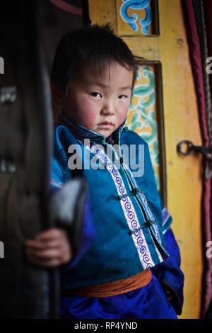 Mongolian child, Tov aimag, Mongolia - Stock Photo