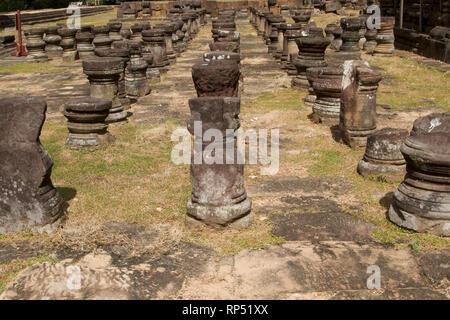 Siem Reap-Baphuon temple columns path 1 - Stock Photo