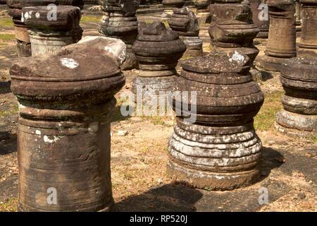 Siem Reap-Baphuon temple columns path 2 - Stock Photo