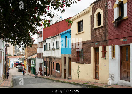 Colourful street views with old houses in La Concordia, downtown Bogota, Colombia. Sep 2018 - Stock Photo