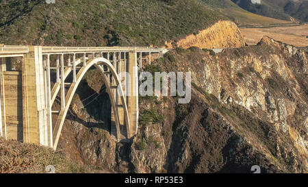 close view of bixby bridge on highway 1 along the california coast in big sur - Stock Photo