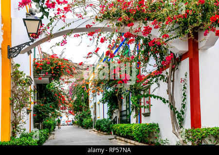 Traditional houses in Puerto de Mogan,Gran Canaria,Spain. - Stock Photo