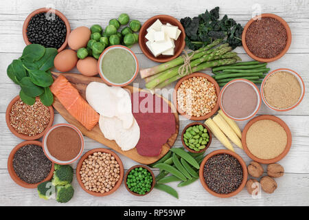 High protein food sampler with fresh vegetables, meat, fish, tofu, legumes, nuts, supplement powders, grains and seeds. - Stock Photo
