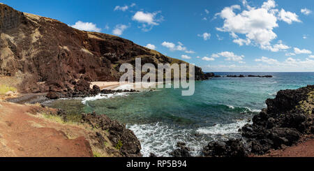 Beach and Bay at Ovahe, Easter Island Panorama, Chile - Stock Photo