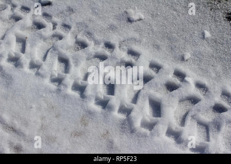 Overhead close up abstract view of tire track imprints on snow covered road - Stock Photo