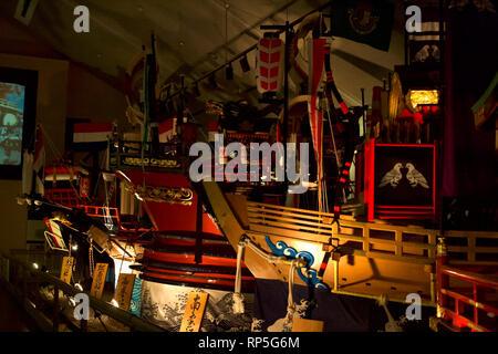 Nagasaki-Fish boats reproduction at Tradition Museum (Glover Dori-Dutch Slope) 1 - Stock Photo