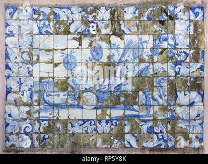 Traditional Portuguese azulejo tiles at Lisbon Zoo (Jardim Zoológico) in Lisbon, Portugal. - Stock Photo