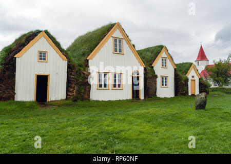 Traditional turf houses in Glaumbaer - Iceland - Stock Photo