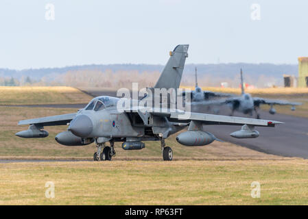 Royal Air Force Panavia Tornado Gr4 fighter jet taxiing out to take part in the RAF Tornado Farewell Tour titled FINale. Fighter jets, planes - Stock Photo