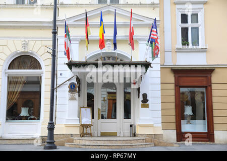 Luxury hotel Imparatul Romanilor on Nicolae Balcescu Street, in the old town of central Sibiu, in Transylvania, Romania - Stock Photo